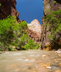 End of Zion River Walk (bryanfisherphoto) Tags: park sun clouds river rocks view cliffs virgin national zion zionnp canyons