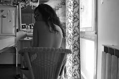 (Vittoria Lazzeri) Tags: morning light bw woman white black hair nose mirror monocromo back chair skin bn e shoulders bianco sedia nero luce pelle schiena naso capelli mattina profilo spalle