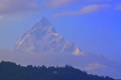 Annapurna in a few minutes' glimpse before disappearing behind the clouds (PsJeremy) Tags: nepal pokhara annapurna himalayan highpeaks 10thtallestpeak