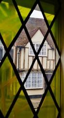 Church Street (dlanor smada) Tags: stainedglass halftimbered aylesbury bucks chilterns windows diamonds