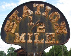 Rusty Station half mile (Gerry Dincher) Tags: taylorsville northcarolina alexandercounty piedmont smalltownnorthcarolina smalltown southern thesouth foothills rusty railroad railroadsigns ironsigns station12mile halfcircle sign