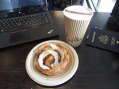 Cappuccino and a Danish before an international flight (cohodas208c) Tags: copenhagen coffeeshop bakery passport cph airportfood danishpastry lagkagehuset cinnamonswirl