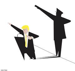 trump shadow (khalid Albaih) Tags: khalid albaih cartoons khartoon freedom speech press political       refugees welcome isis is islamic belgam make america great again madonna iraq syria sudan yemen listen gob