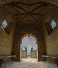 Out the door - Bolsover Castle (AngelCrutch) Tags: bolsover bolsovercastle castle doorway landscape gates ceiling windows history historicbuilding architecture skies clouds framing scenery derbyshire britishhistory britain england englishheritage uk