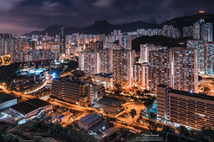 Ping Shan (mikemikecat) Tags: street house building bus rooftop architecture night vintage hongkong evening twilight colorful pattern nightscape sony cityscapes hong kong nostalgia housing block nightview   kowloon   stacked nightscapes estates lionrock   carlzeiss  kowloonbay  pingshan    a7r         sel1635z fe1635mm  mikemikecat