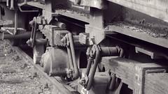 train (FotoTrenz NRW) Tags: old bw monochrome wagon alt details rder trails eisenbahn zug bahnhof panasonic rost waggon oldtrain eisen schienen schrauben gterzug antrieb federung