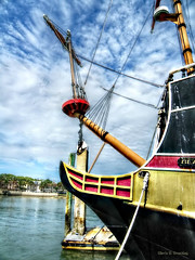 The Black Raven (Chris C. Crowley) Tags: theblackraven boat pirateship fakeship touristattraction mast bough galleon rigging crowsnest harbor matanzasriver staugustineflorida scenic clouds bluesky