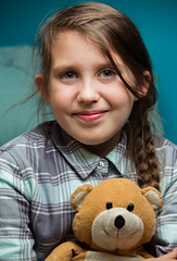 Girl &  Her Bear (wrighteye) Tags: teddy bear girl portrait flash home studio daughter canon best friend