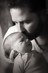 Father & Son (Metro Tiff) Tags: father son newborn monochrome baby precious moments infant dad human boy embrace love fatherhood secure safe