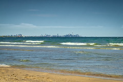 Toronto from the Jack Darling Park (teachandlearn) Tags: toronto lake ontario lakeontario park waves water sky skyline beach sand