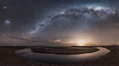 Awarua_26L7839-P3E (Digital Negative) Tags: red milky way stars seashore water sand light pollution clouds waterway bluff awarua southland aurora