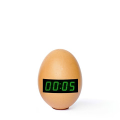 a clockwork chicken (brescia, italy) (bloodybee) Tags: 365project eggs shell food timer clock clockwork chick chicken humor fun stilllife white brown number 5 second