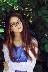 In shade (vaiva.sovaite) Tags: portrait people young youth girl cute lovely beautiful 50mm vintage longhair brown green glasses outdoor