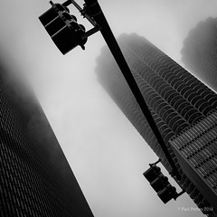 Misty Chicago (Paul Perton) Tags: chicago fuji fuji23mmf14 usa xpro2 blackandwhite bw mist sky skyline square street urban