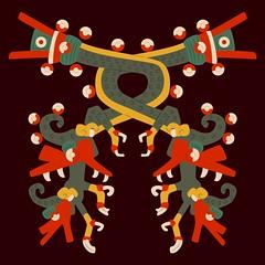 Aztec double double dragon (Gwendal_) Tags: art strange mexico weird punk raw dragon aztec drawing outsider double mexican brest mexique gwen libre lowbrow breton artiste brut borgia codex trange azteca gwendal figuration centrifugue azteque graphiste aztque gwenboul uguen gwendalorg centrifuguefr