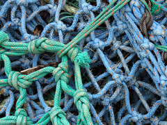 tangle (Snorkle-suz) Tags: fishingnet tangle blue green knots outside outdoor canonpowershotsx700hs stilllife ordinaryart