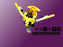 BE-E75 Interceptor (Harding Co.) Tags: black yellow insect grey lights flying wings wasp purple lego space military engine cockpit bee honey engines scifi spaceship grille fin interceptor minifigure