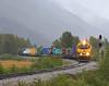 Portage. (GLC 392) Tags: bear railroad mountains rain fog alaska train arms valley arr 3011 portage barge whittier 120n emd gp402 3007