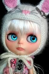 Oh My Ears and Whiskers Custom #203 ~ Teal Handpainted Eyes (sglahe - Kaleidoscope Kustoms) Tags: blythe aliceinwonderland steampunk whiterabbit