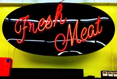 Fresh Meat neon sign (SteveMather) Tags: ohio red usa black sign yellow neon cleveland clean signage dxo oh viewpoint freshmeat northeast camerabag oval 4s topaz iphone 2014 denoise vividhdr