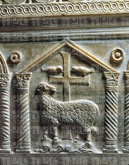 The mystic lamb of God (standing on the four rivers of paradise) (petrus.agricola) Tags: four paradise god mausoleum rivers sarcophagus lamb sarcophage mystic dei ravenna agnus galla placidia