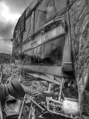 All Aboard! - B&W (Mark.L.Sutherland) Tags: camera bw white black abandoned rotting yard boat junk rust all ship sad phone ad galaxy rusting hd ladder wreck s3 derelict wrecked boiler decaying tyres aboard