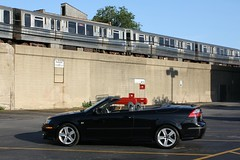It's Time To Jet (Flint Foto Factory) Tags: auto city red summer urban chicago black 2004 car train store illinois automobile cta purple parking north jet broadway lot july convertible swedish line 2nd dominicks l intersection elevated grocery 93 import saab generation edgewater 2012 chicagotransitauthority glenlake 2011 worldcars