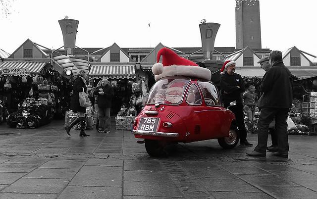 Santa in a bubble car