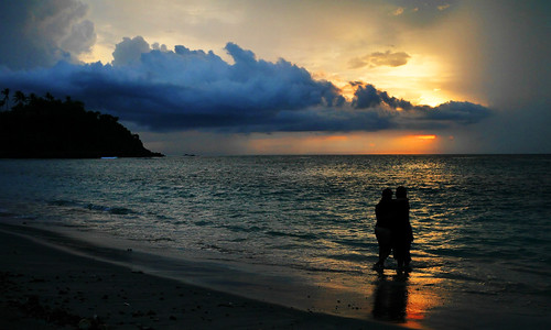Sunset in Lombok, Mangsit beach, West Nusa Tenggara province of Indonesia