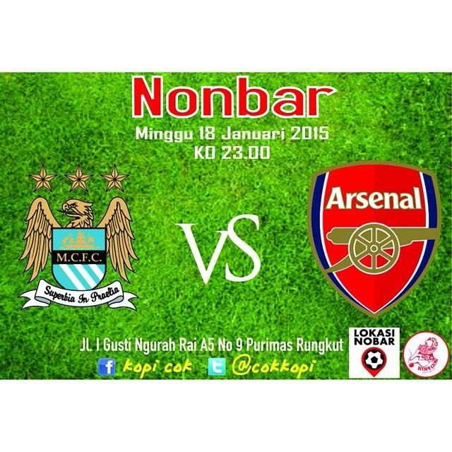 Lokasi Nobar: Rekomendasi lokasi nobar Surabaya | MCFC vs Arsenal | @cokkopi