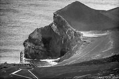 the lighthouse that withstood a volcanic eruption in its neighbourhood (lunaryuna) Tags: bw lighthouse volcano blackwhite monochromatic 1957 lunaryuna derelict survivor azores vantagepoint volcanism volcaniceruption seenfromabove azoresislands faialisland ilhadofaial ilhasazuais eruptioncapelinhos cabezoverde
