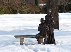 James and Dolley Madison (afagen) Tags: orange snow statue virginia montpelier jamesmadison dolleymadison montpelierstation jamesmadisonsmontpelier