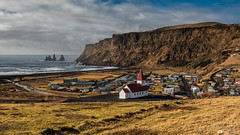 Vik Sunny Day (Fabio tomat) Tags: city travel winter sea panorama sun seascape church landscape town iceland nikon panoramic vik paesaggio islanda vkmyrdal nikon2470f28ed fabiotomat nikond750