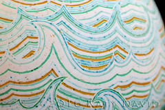 """Gamboling Water"" (Katy David Art) Tags: ocean blue sea white green art water modern gold golden 3d aqua waves folk turquoise fine line wax dye ochre 2d ukrainian resist linear batik beeswax whitecaps aniline pysanka pysanky gamboling"