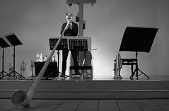Playing the alpenhorn (wwwuppertal) Tags: blackandwhite bw music monochrome concert noiretblanc stage performance nrw sw monochrom musik konzert ruhrgebiet nordrheinwestfalen witten ruhrregion alpenhorn bhne virtuoso blancetnoir alphorn northrhinewestphalia contemporarymusic schwarzweis virtuose auffhrung multiinstrumentalist enneperuhrkreis ruhrvalley blechblser adrianahlszky wittenertagefrneuekammermusik2013 paulhbner grenzweltenzeitenden gemeindeimoberdorf