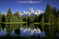 Mountain Reflections (Vision & Light Photo) Tags: morning summer mist mountain lake snow mountains reflection tree art nature water beautiful forest landscape photography landscapes photo nationalpark pond woods scenery solitude quiet fineart scenic tranquility peak bluesky calm snowcapped reflect evergreen photograph wyoming grandtetons wilderness teton tetons stillness grandteton tranquil peacefulness grandtetonnationalpark mountainpeak schwabacherslanding schwabacher