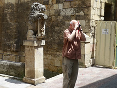 Len. Stephen photographing a romanesque arch. (Sharon Frost) Tags: travel photography spain stephen len