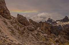 Iridescent Cloud (markezell) Tags: sky italy sun mountains weather rock clouds rainbow hiking iridescent dolomites colfosco corvara
