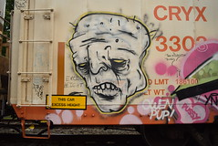 KATER (TheGraffitiHunters) Tags: street white black art face car yellow train graffiti colorful paint tracks spray boxcar refrigerator kater freight reefer benched benching