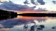 Lake Kivijrvi evening (sakarip) Tags: sunset sky lake reflection water clouds sunsetlight lakescape luumki lakekivijrvi pahainlahti sakarip
