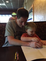 "Paul and Daddy Draw Cubes at Smokehouse BBQ • <a style=""font-size:0.8em;"" href=""http://www.flickr.com/photos/109120354@N07/27821708136/"" target=""_blank"">View on Flickr</a>"