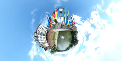 Flagged festival planet (guenther_haas) Tags: bridge panorama river germany deutschland pano 360 flags grad danube ulm degree 360 flaggen donau kugelpanorama littleplanet herdbrcke internationalesdonaufest richothetas internationaldanubefestival