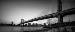 The Manhattan Bridge (B&W) (iShootPics) Tags: nyc longexposure bridge bw newyork zeiss cityscape manhattan manhattanbridge sonya7 sel1635z