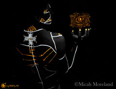 Otherworldly (micahmoreland) Tags: fiction portrait reflection male film blackbackground pose dark movie mirror design robot scary paint neon experimental message body ominous space alien hologram evil science creepy fluorescent blacklight future cult scifi horror videogame sciencefiction demonic cyborg outerspace creature cinematic futuristic holographic