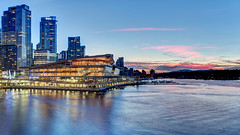 Vancouver Convention Centre Sunset (Patrick Lundgren) Tags: vancouver bc british columbia canada downtown convention centre place center event sunset light water reflection burrard inlet stanley park buildings building condo tower blue hour color colour canon sigma pacific northwest photoraphy cityscape landscape outdoor night nature