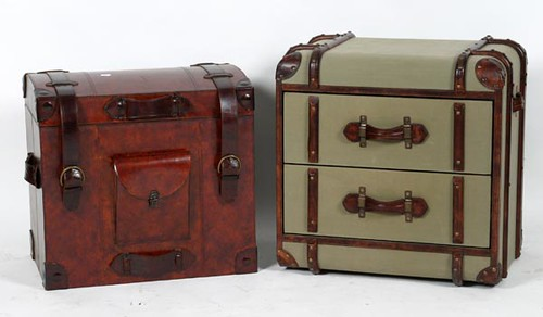 Smith or Alexander Steamer Style Trunk w/ 2 Drawer & European Style Leather Lift Top Trunk ($190.40 & $403.20)