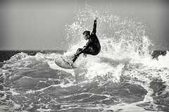 Arm (GavinZ) Tags: california encinitas sandiego sports surfing beach ocean surf water bw blackandwhite surfer