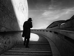 mystery man (Georgie Pauwels) Tags: street streetphotography candid stairs geometry hat blackandwhite olympus