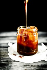 Homemade salted caramel sauce (easy recipe) (Oggi pane e salame, domani...) Tags: foodblogger recipe caramello food dark baking foodphotography foodstyling foodblog bakedgoods homemade ingredient dessert rustic wood table photography canon dolce interno 50mm dslr brunch breakfast depthoffield sweet sweets caramel sauce 100mm caramelsauce darkbackground