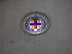Vidriera con el signo de la hermandad (Lola Massotti) Tags: santa art church de spain arquitectura san arte juan iglesia dia escultura murcia domingo semana bautista arquitecture incienso inmaculada inciense
